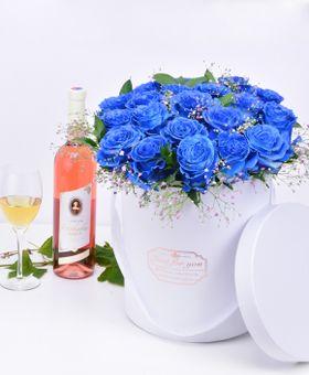 Flower box modrých ruží