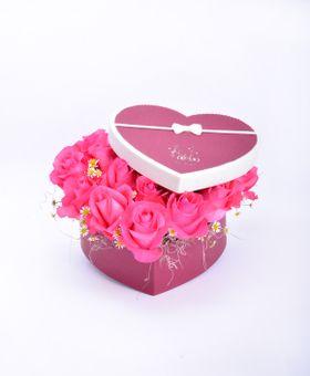 Kvetinový box - srdce z ruží