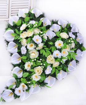 Pohrebný veniec zahnuté srdce