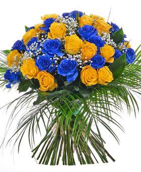 Modro-žltá kytica ruží